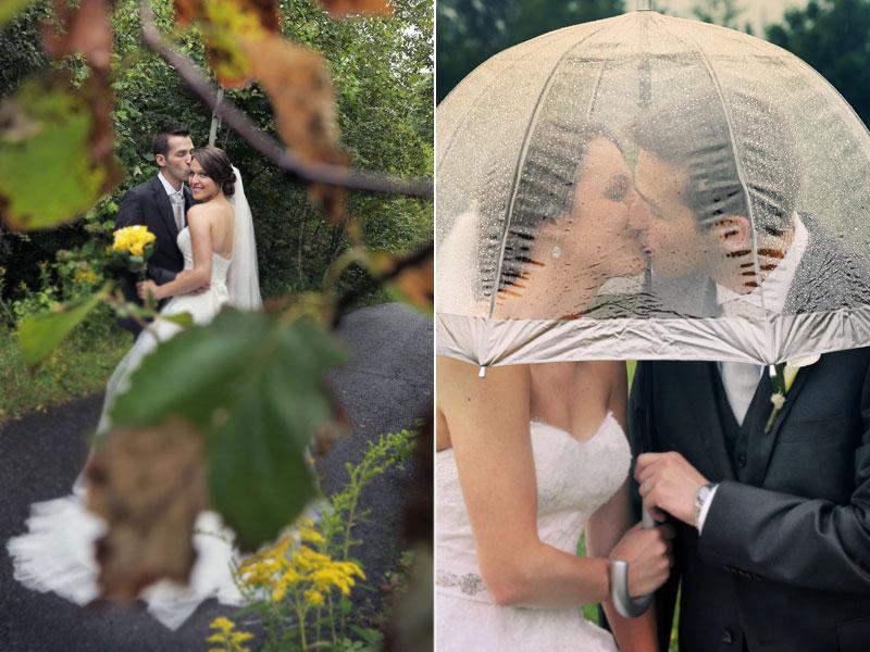 mariage sous la pluie à l'Auberge du Mont-Gabriel