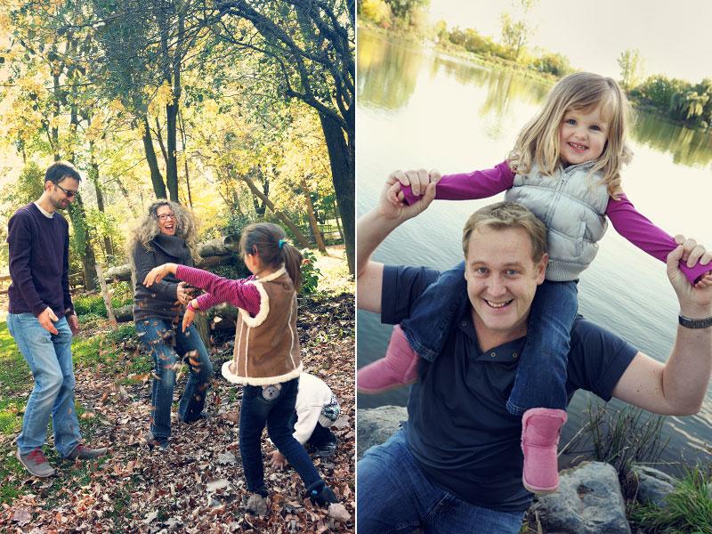 deux familles s'amusent au parc