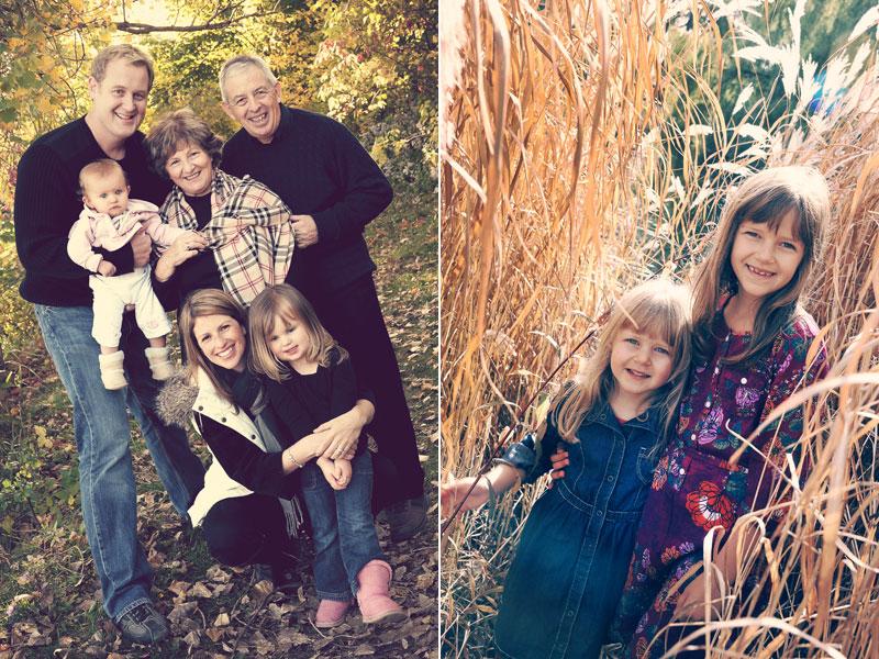 photos d'une famille et de deux soeurs dans le blé