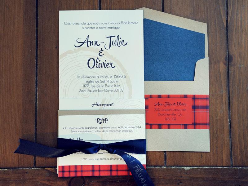 carton d'invitation pour mariage en hiver