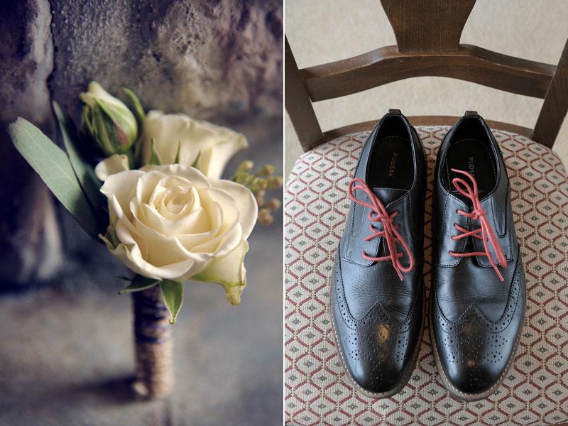 boutonnière et les souliers du marié
