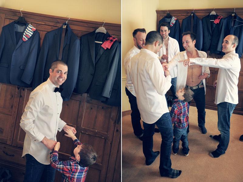 préparation du marié à l'hôtel Grand Lodge Tremblant