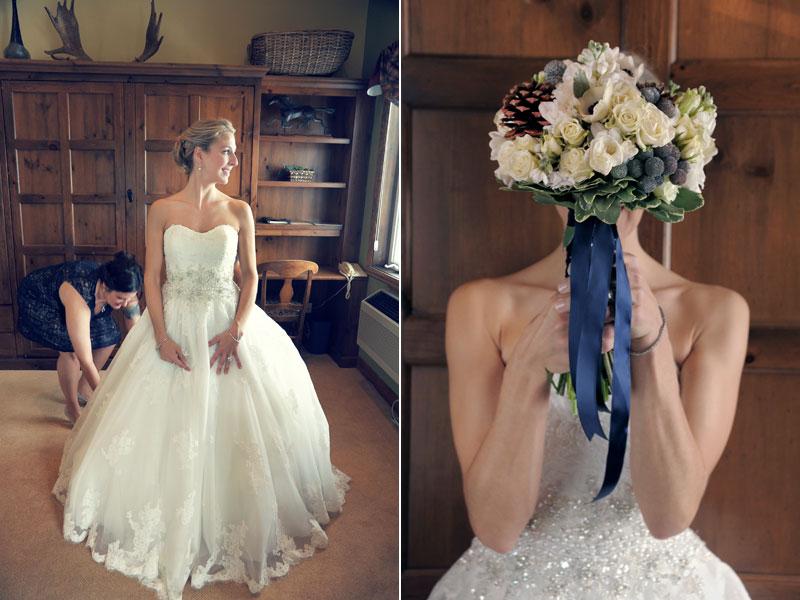 photos du bouquet de mariage et préparation de la mariée
