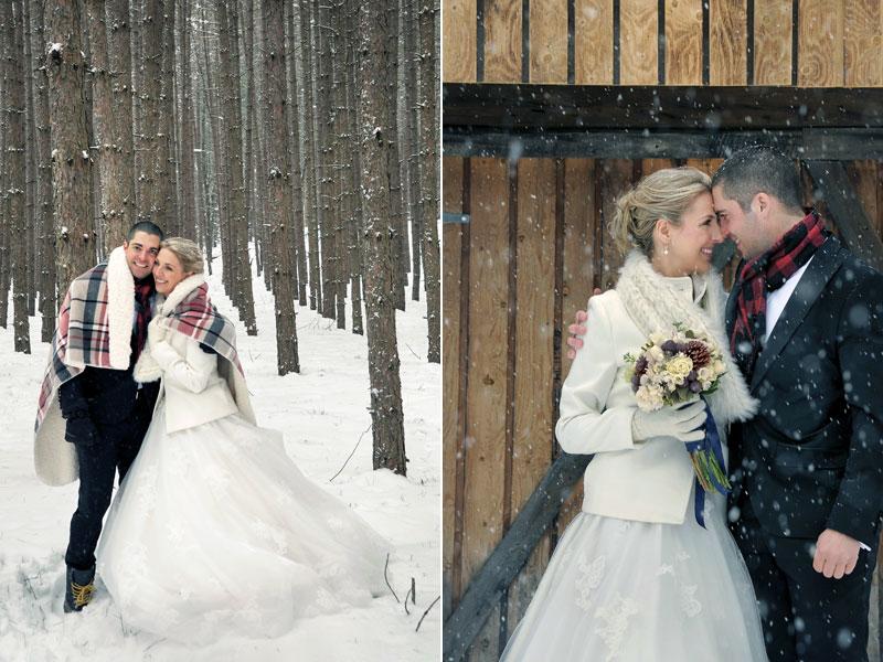 les mariés dans la neige et la forêt