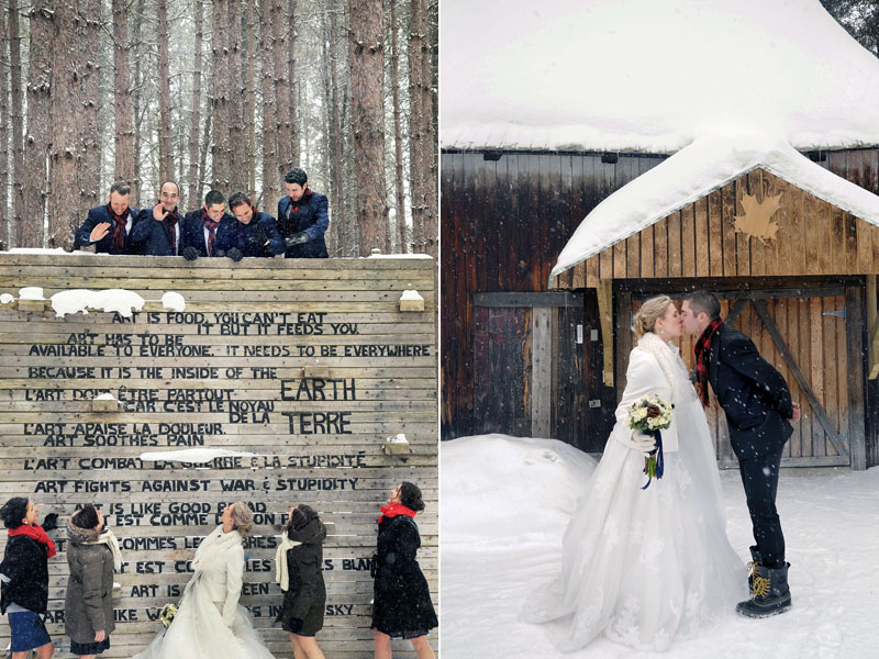 wedding bridal party in the snow at Mont-Tremblant