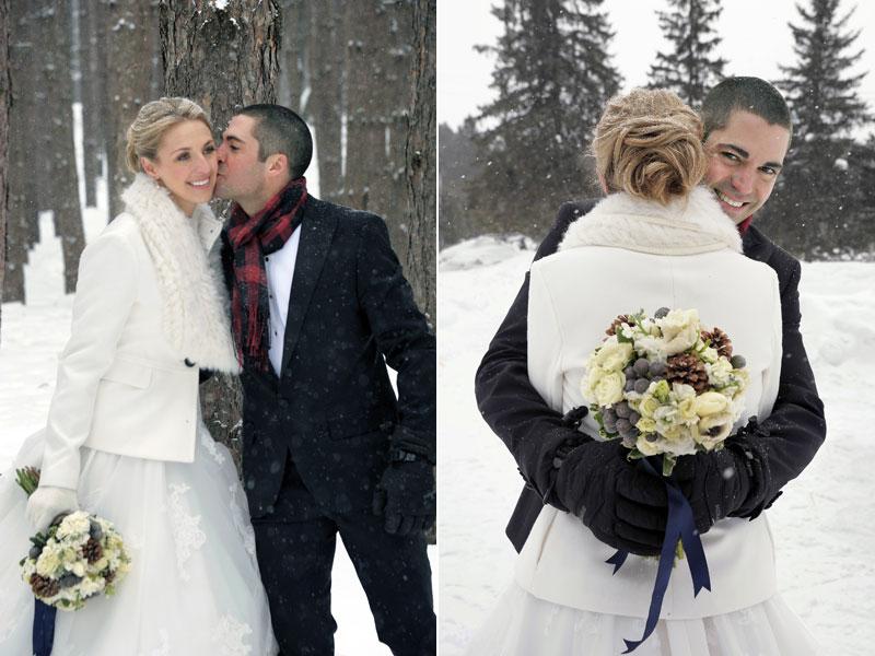 photos de mariage des mariés dans la neige