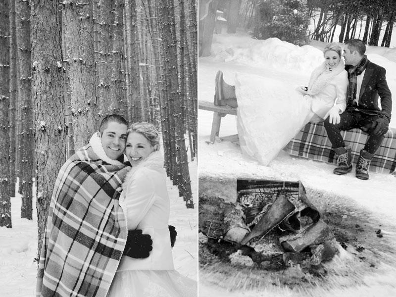Les mariés se réchauffent dans le bois