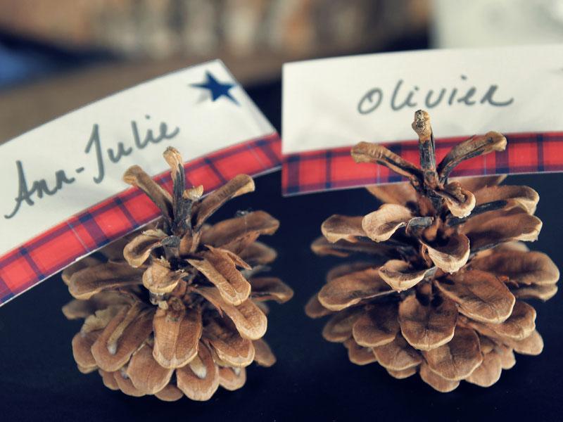 cocottes avec le nom des mariés