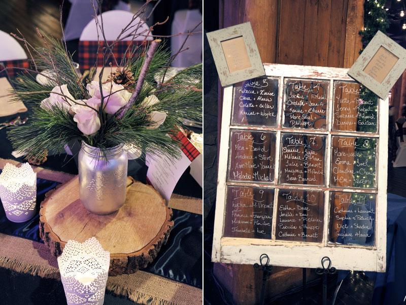 centre de table mariage d'hiver avec tableau d'invités