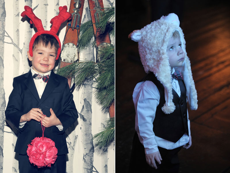 kids disguised at winter wedding