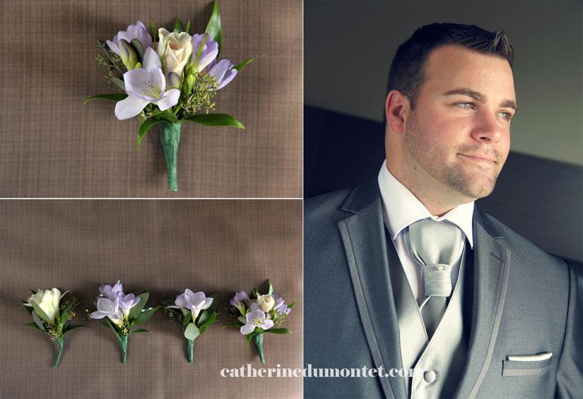 boutonnières de mariage et le marié