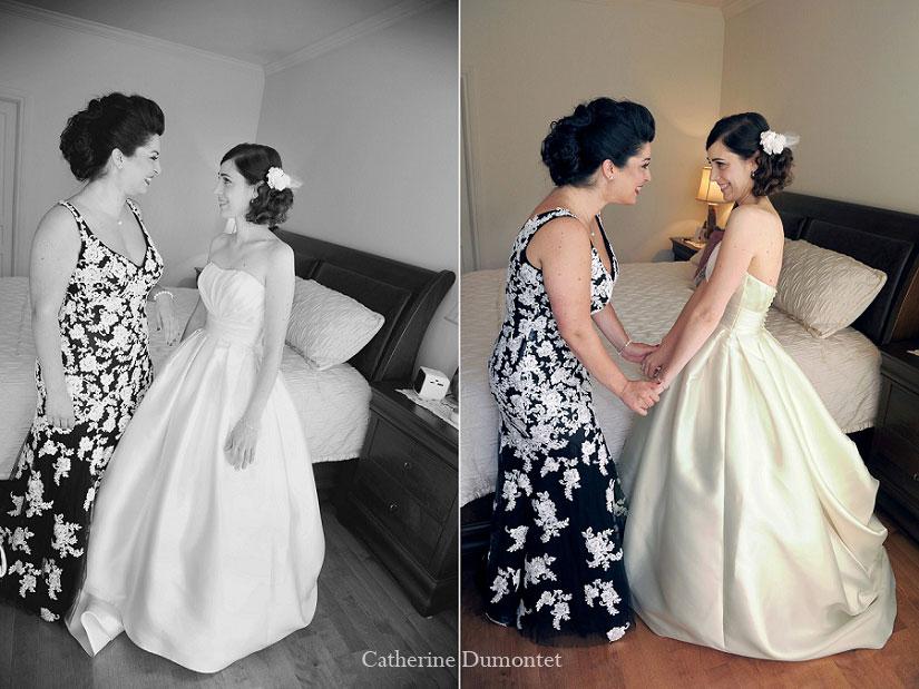 la mariée et sa demoiselle d'honneur