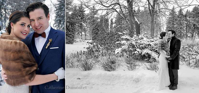 Les mariés affrontent le froid et la neige en hiver