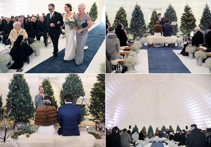 photos de la cérémonie d'un mariage d'hiver