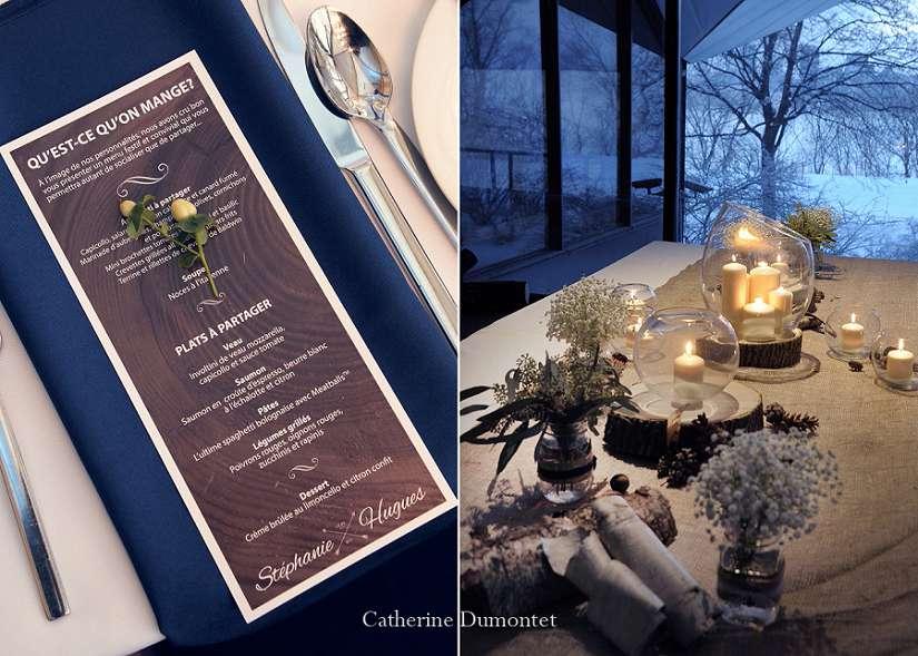 menu et décoration d'un mariage en hiver