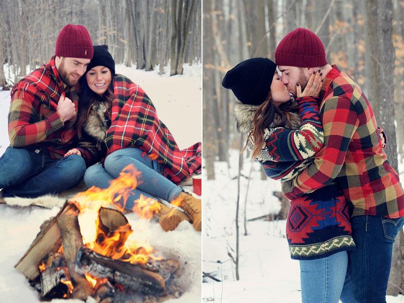 Séance fiançailles dans une érablière en hiver