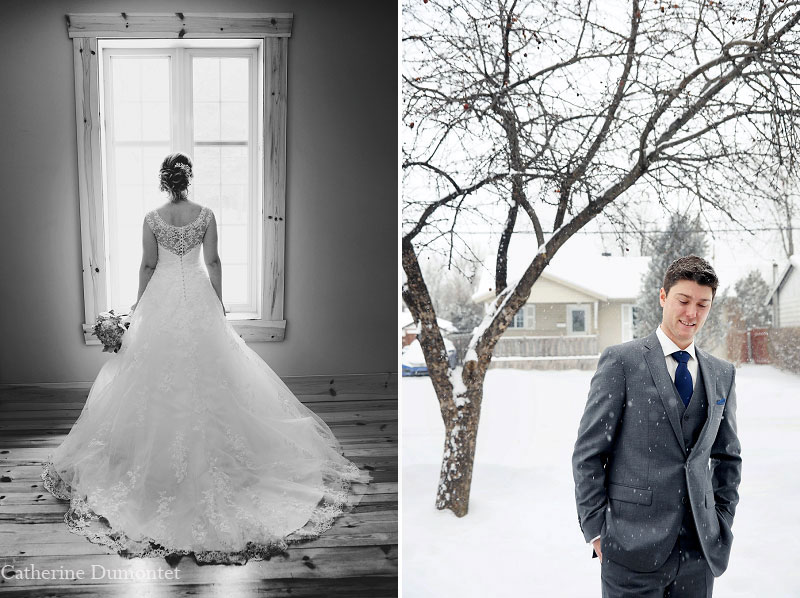 individual portraits of bride and groom