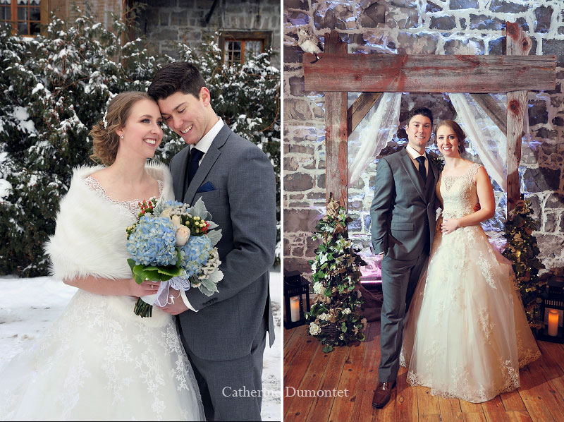 bride and groom with winter decor
