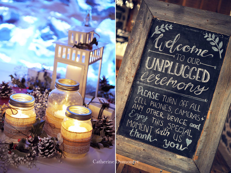 winter wedding decorations made by the newlyweds