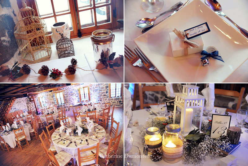 Winter wedding decorations at Moulin Callieres