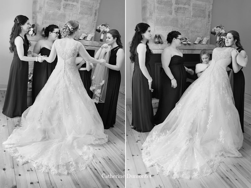 bride and bridesmaids having a moment