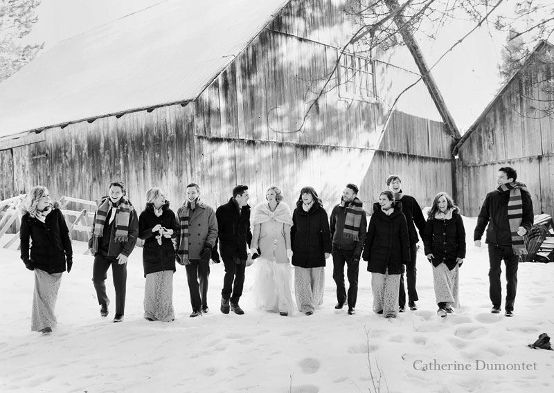 the bridal party walking together