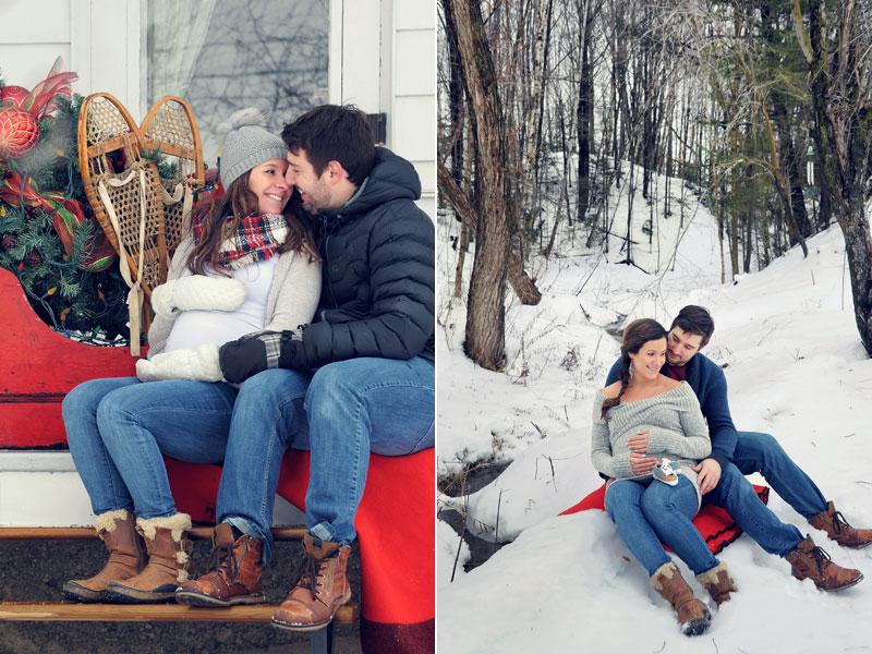 couple attendant un enfant en hiver