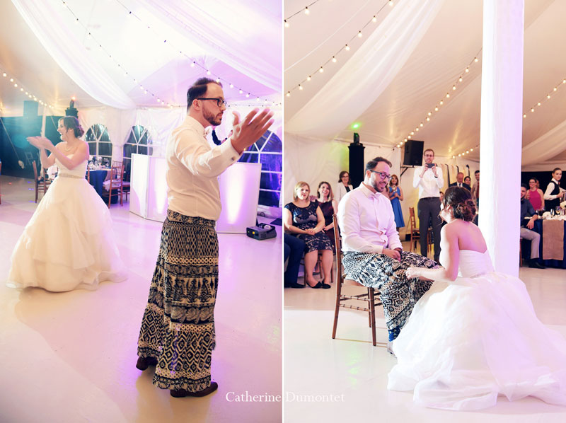 le jeu de la jarretière avec les mariés