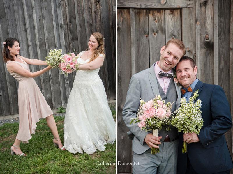 Les mariés avec demoiselle et garçon d'honneur