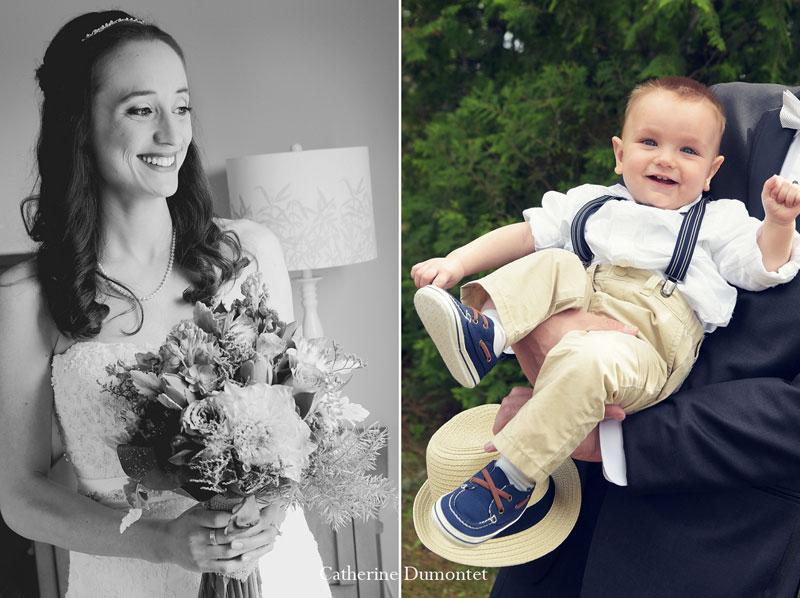 Portrait de la mariée et de son garçon