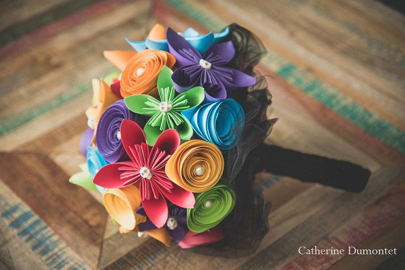 bouquet coloré avec têtes de morts