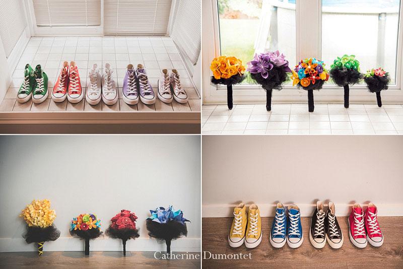 souliers Converse et bouquets colorés