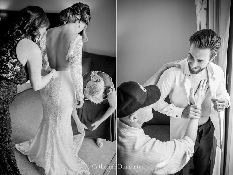 préparation des mariés à l'Auberge des Gallant