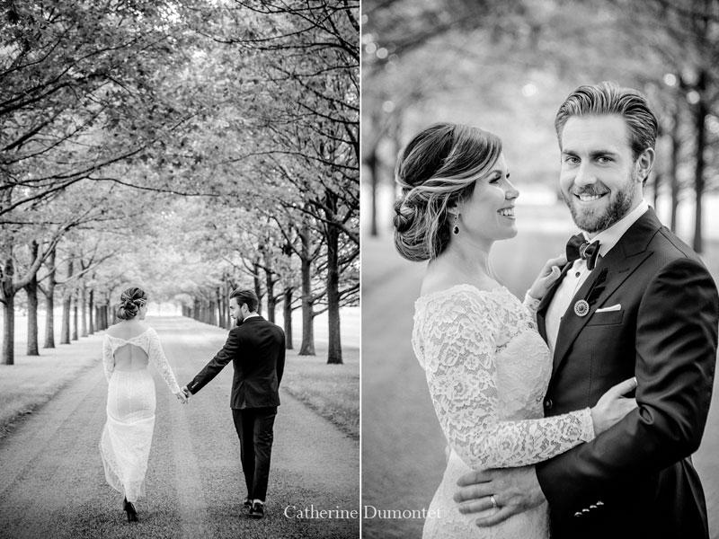 les mariés en noir et blanc