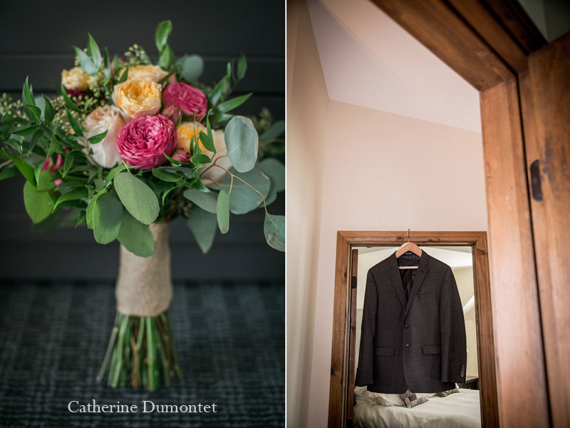 le veston et le bouquet de mariage