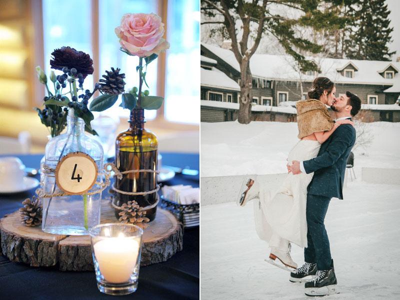 mariage d'hiver dans les Laurentides