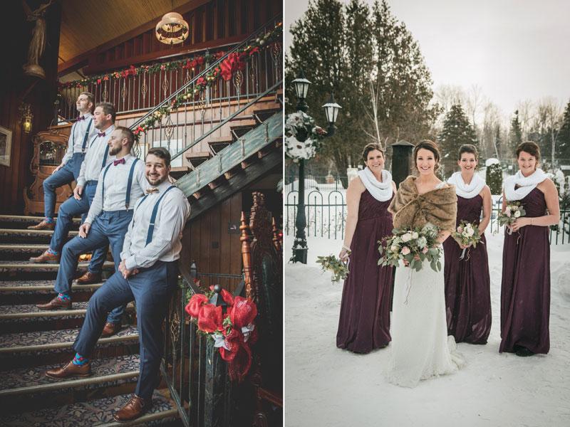 le cortège avec les mariés au Mont-Gabriel