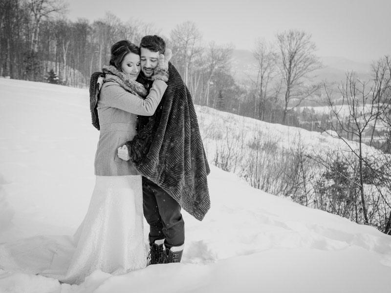 mariage d'hiver au Mont-Gabriel