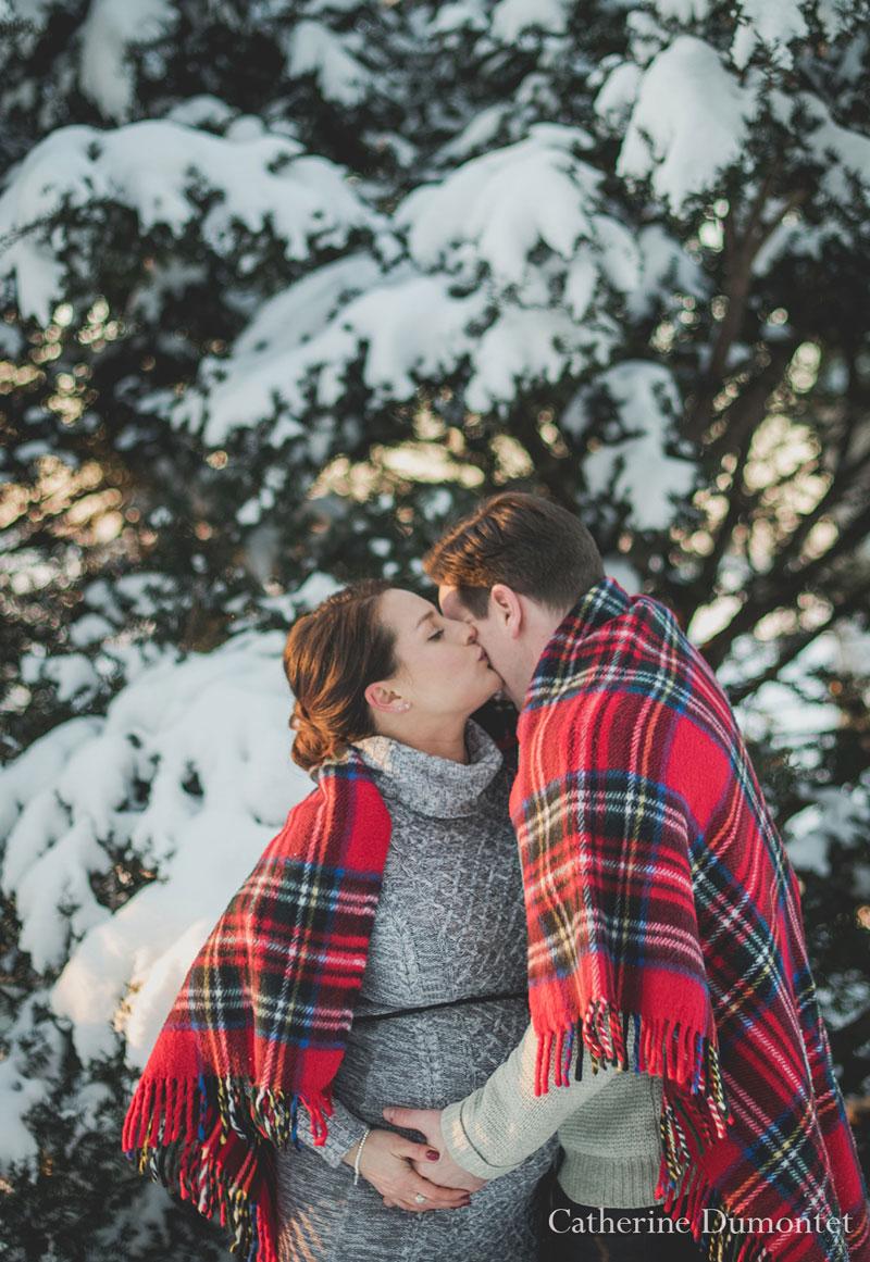 séance maternité en hiver