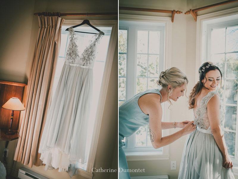 Préparation de la mariée à l'Auberge Handfield