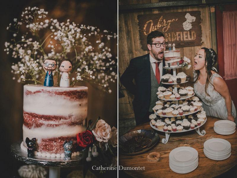 Gâteau et cupcakes de mariage