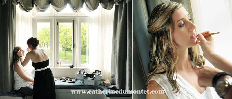 La mariée se fait maquiller dans sa suite