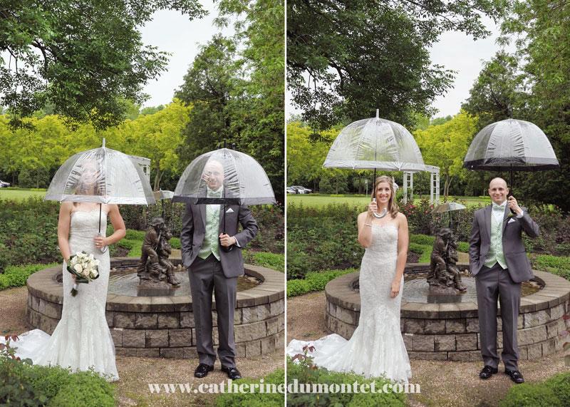 les mariés devant la fontaine du Manoir Rouville-Campbell