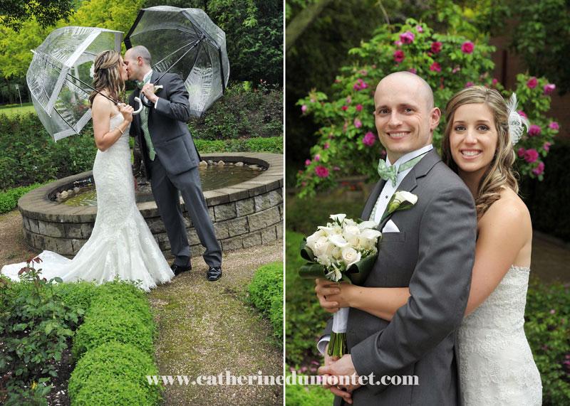 les mariés dans les jardins du Manoir Rouville-Campbell