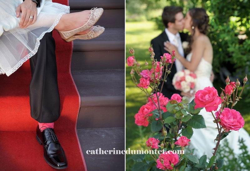 les mariés dans le jardin du Château St-Antoine