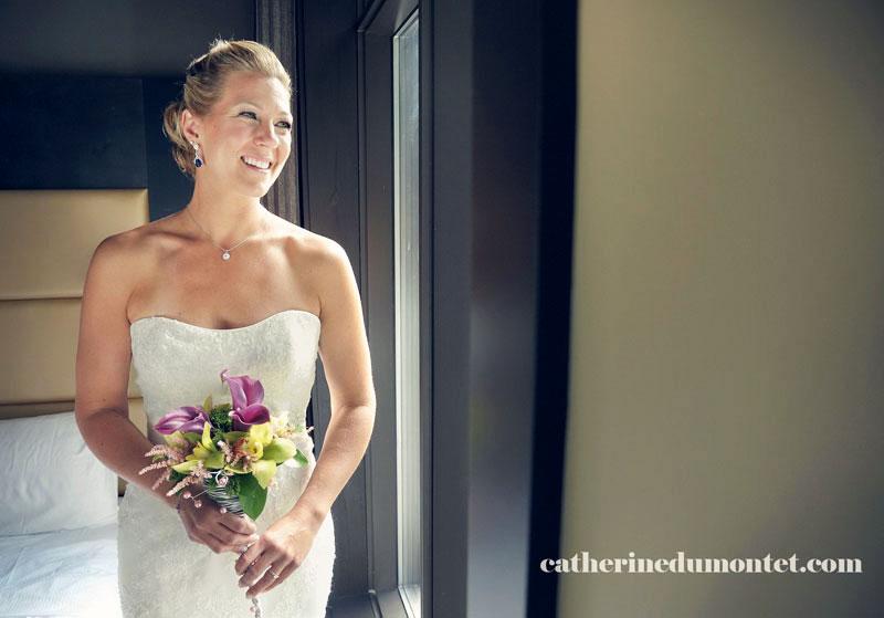 portrait de la mariée à l'Estérel Resort