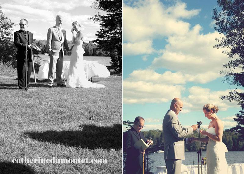 cérémonie extérieure de mariage dans les Laurentides