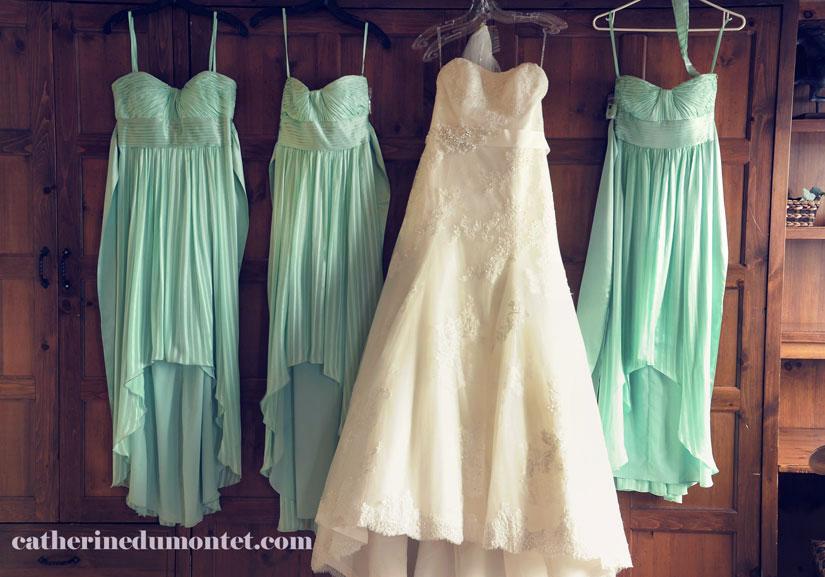 robes de la mariée et demoiselles d'honneur