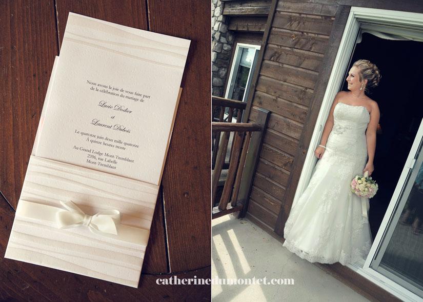 invitations avec les bagues et la mariée