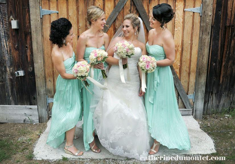 la mariée avec son cortège devant grange